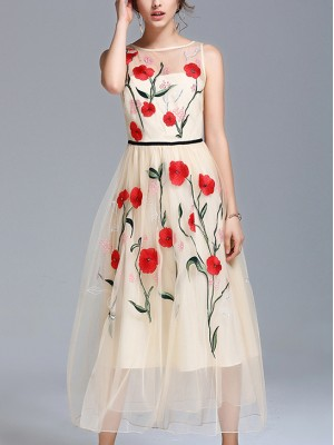 cf9bc241eff long white floral maxi dress. Apricot Sleeveless Embroidered Floral Swing Maxi  Dress