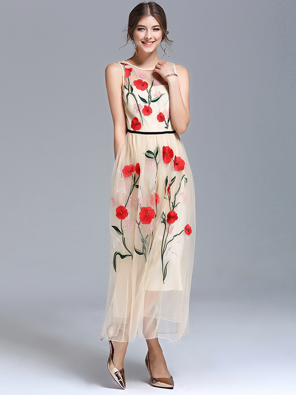 f3805fb2e1e9c8 Apricot Sleeveless Embroidered Floral Swing Maxi Dress. (1 reviews)