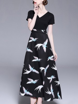 Black Crane Pattern Embroidered Maxi Dress