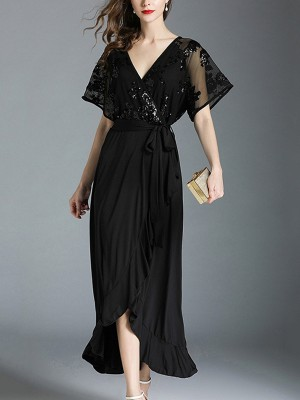 Black Sequin Detail Wrap Chiffon Maxi Dress