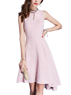 Pink Crystal Neckline Asymmetric Mini Dress