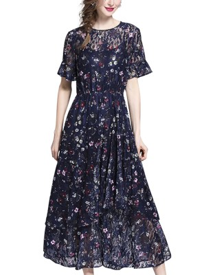 Navy Blue Printed Lace Maxi Dress