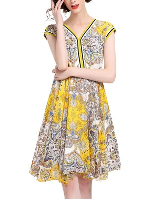 Yellow Spliced Printed Chiffon Midi Dress