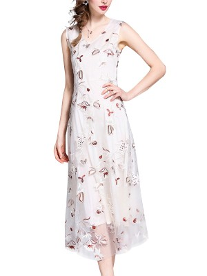 White Floral Embroidered Contrast Maxi Dress