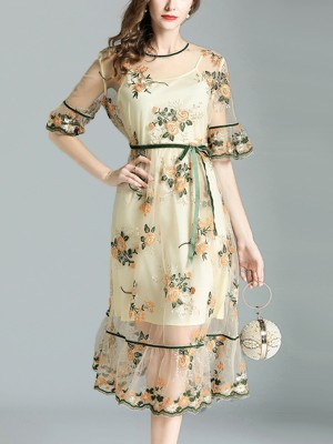 Yellow Two-piece Floral Embroidered Crew Neck Midi Dress