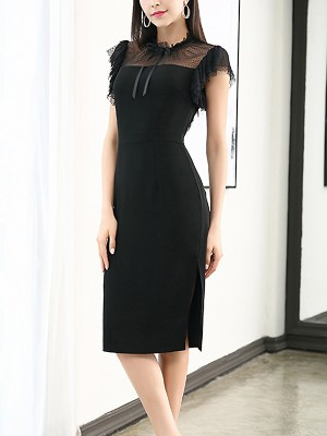 Black Mesh Panel Ruffled Sleeve Stand Collar Midi Dress