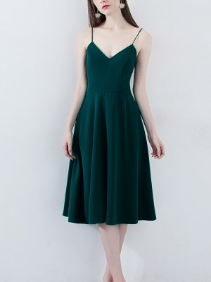 Deep Green Open Back Cami Midi Dress