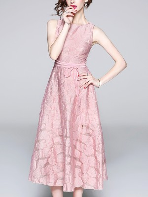 Pink Rose Pattern Embossed Maxi Dress
