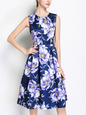 Royal Blue Oversize Floral Printed Midi Dress