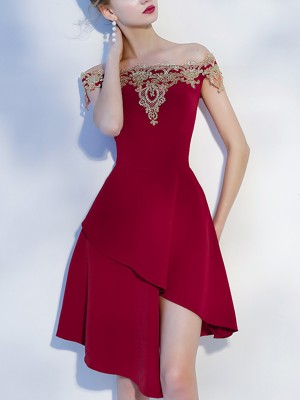Wine Red Off The Shoulder Asymmetrical Mini Dress
