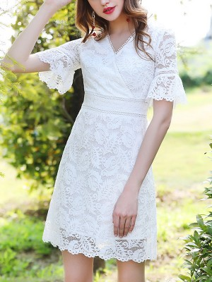 White All Over Lace Wrap V-neck Mini Dress