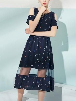 Navy Blue Cold Shoulder Printed Midi Dress