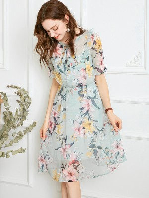 Green Two-piece Oversized Floral Printed Midi Dress