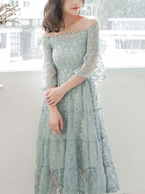 Green Off-shoulder Shirred Lace Midi Dress