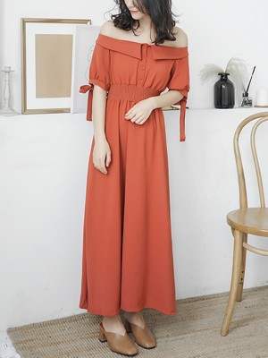 Red Off-shoulder Shirred Waist Maxi Dress