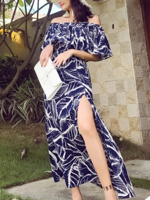Navy Blue Leaf Pattern Split Maxi Dress