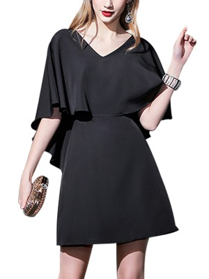 Black V-neck Cape Overlay Mini Dress
