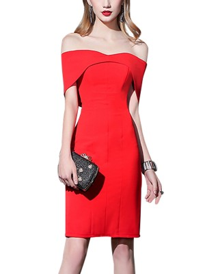 Red Off-shoulder Sheath Midi Dress
