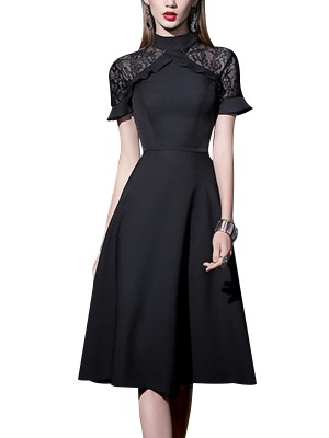 Black Lace Panel Midi Dress With Ruffled Trim