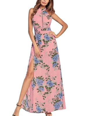 Pink Floral Backless Halter Maxi Dress