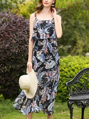 Black Overlay Top Cami Printed Chiffon Maxi Dress
