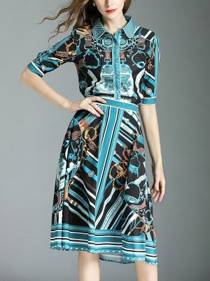 Cyan Two-piece Contrast Printed Midi Dress