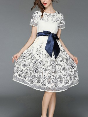 White Ribbon Tied Cutwork Midi Dress