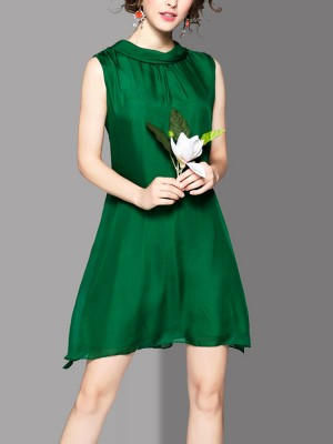 Green Tie Back Silk Sleeveless Mini Dress