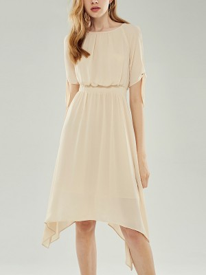 Apricot Cold Shoulder Dip Hem Flowy Midi Dress