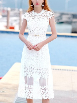White Two Piece Cutwork Lace Midi Dress