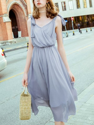 Blue Tie Shoulder Ruched Front Flowy Midi Dress