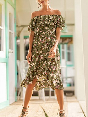 Green Double Layered Ruffled Floral Midi Dress
