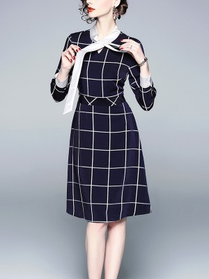 Blue Contrast Tie Neck Check Midi Dress