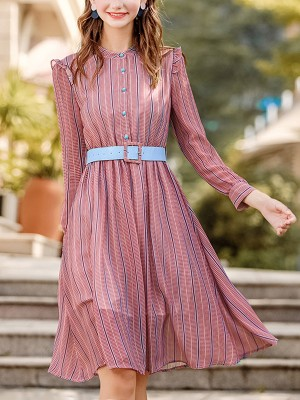 Jacinth Belted Waist Striped Chiffon Midi Dress