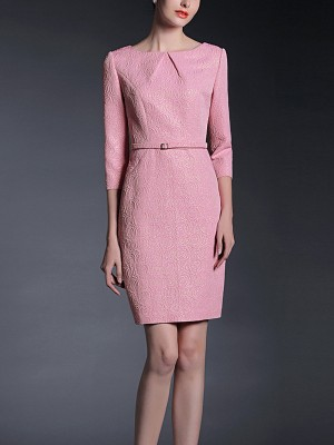 Pink Gold Thread Jacquard Mini Dress With Belt
