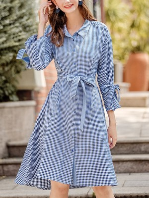 Blue Tie Waist Check Midi Dress With Strap