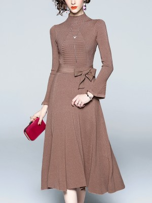 Brown Tie Waist Knitted Midi Dress
