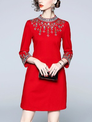Red Bead Decoration Cinched Waist Mini Dress