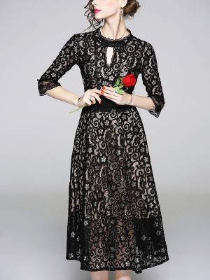 Black Tie Back Cutwork Lace Midi Dress