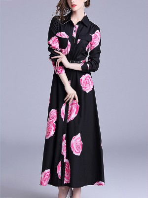 Black Belted Waist Printed Maxi Dress With Pockets