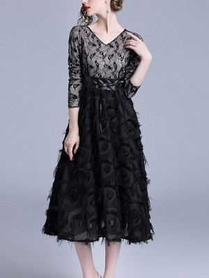 Black V-neck Lace Top Feather Midi Dress
