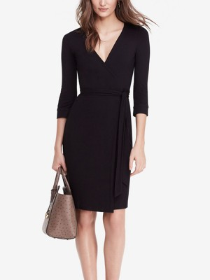Black Wrap V-neck Tie Waist Mini Dress