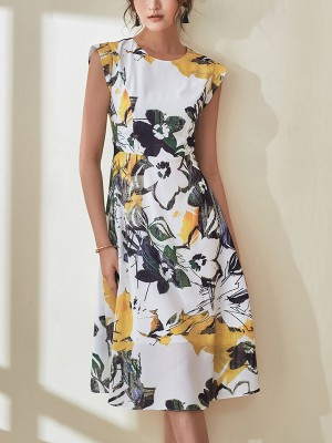 Yellow Cap Sleeve Floral Printed Midi Dress