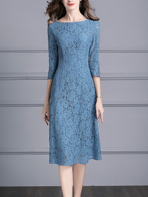 Blue Boat Neck Floral Lace Swing Midi Dress