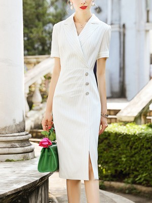 White Notch Lapel Pin-striped Wrap Midi Dress