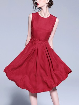 Wine Red Asymmetrical Hem Sleeveless Midi Dress