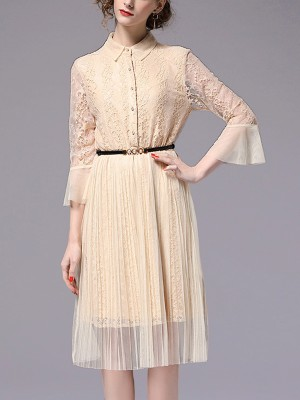 Apricot Flared Sleeve Lace Pleated Midi Dress
