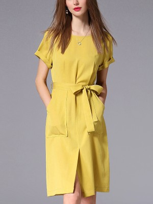 Yellow Split Front Midi Dress With Pockets