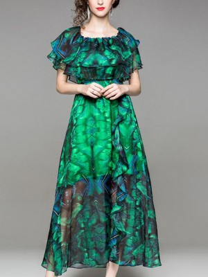 Green Ruffle Trim Printed Chiffon Flowy Maxi Dress