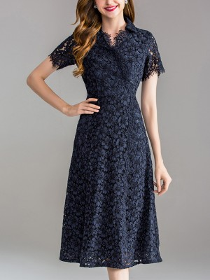 Navy Blue Cutwork Lace Wrap Midi Dress With Fringing